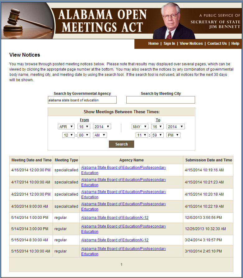 Open Meetings page