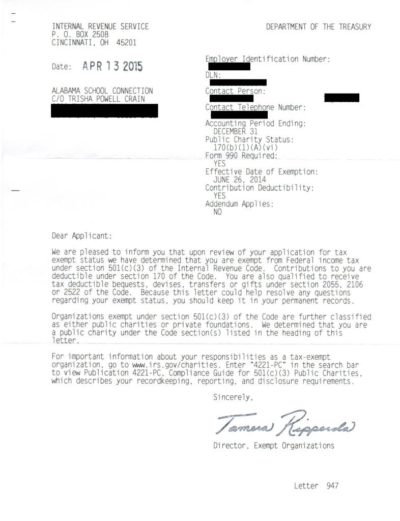 IRS Tax-Exempt Status Approval Letter - redacted