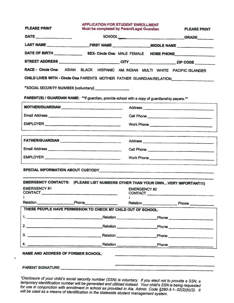 high school registration form template - alabama school connection enrollment procedures which