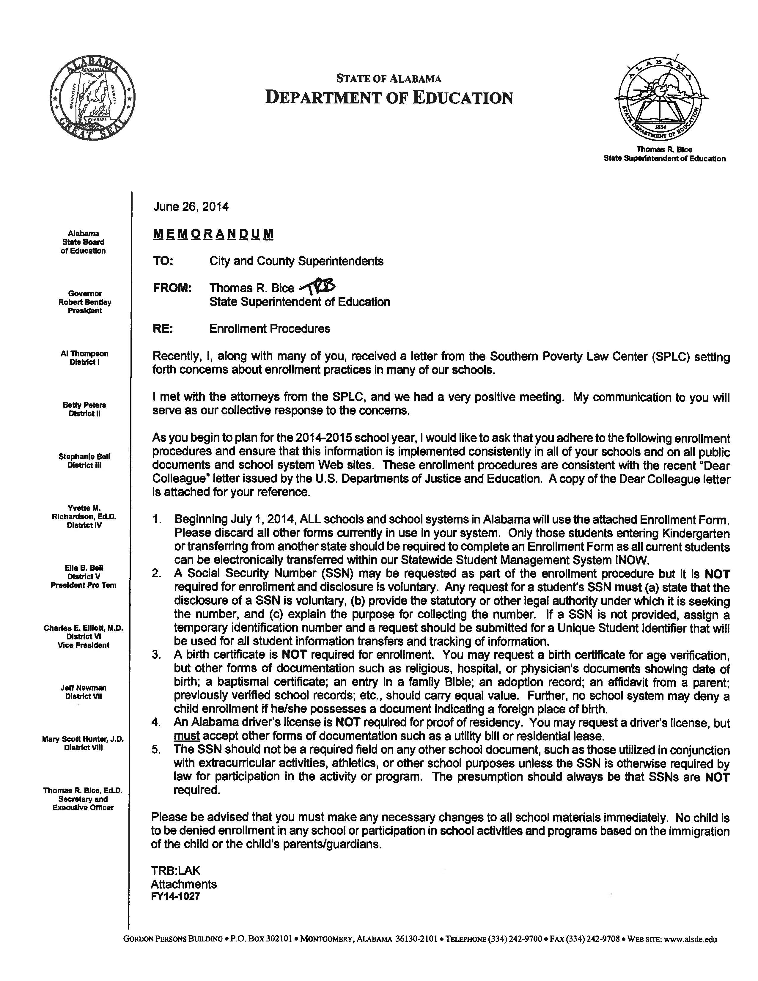 Alabama school connection enrollment procedures which documents memo fy14 1027 xflitez Gallery