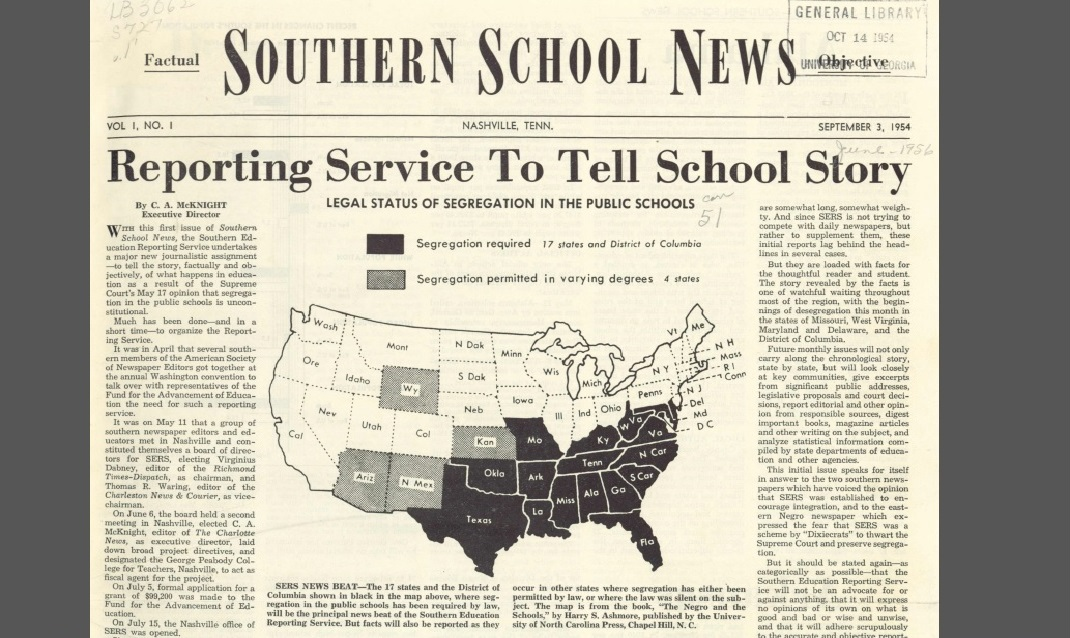 Front page, Southern School News, Sept 3, 1954